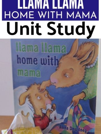 llama llama home with mama book and items to use in a unt study