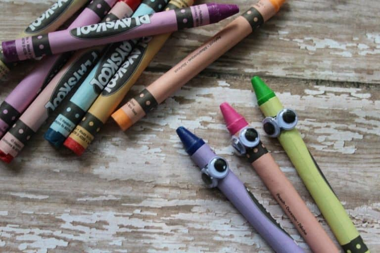 crayons with googly eyes for a craft