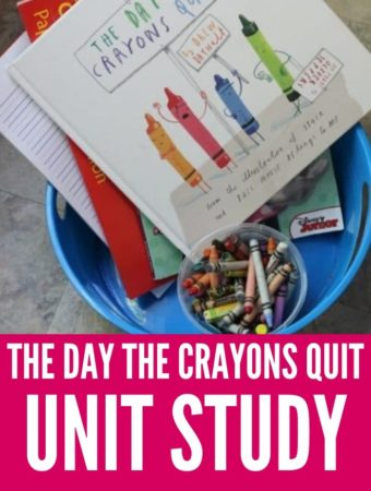The day the crayons quit book in a tub with crayons and writing paper
